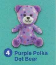 "Build a Bear 4"" Purple Polka Dot Bear McDonald's 2015 #4 Happy Meal Toy NEW"