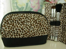 New Lancome Cheetah-Print Cosmetic Bag with 3pc Makeup Powder/Shadow Brush Set