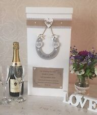 WEDDING CARD POST BOX PERSONALISED WOOD HORSESHOE HEARTS SHABBY HESSIAN VINTAGE