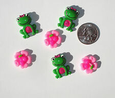 Frogs Flowers Resin Flatbacks hair bow embellishments scrapbooking craft glue on