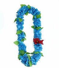 Hawaiian Lei Party Luau Floral Hibiscus Silk Fabric Flower Dance Necklace Blue