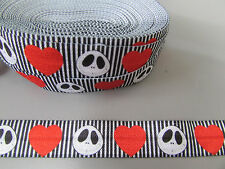 Jack Skeleton NBC Fold Over Elastic Ribbon 1.6cm x 1 Metre Sewing/Crafts/Cake