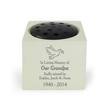 Personalised Dove Memorial Vase Grave Flower Vase Bowl Cemetery Holder Funeral