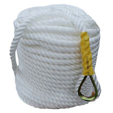 "White 1/2""x300' Twisted Three Strand Anchor Nylon Rope Coil Boat with Thimble"
