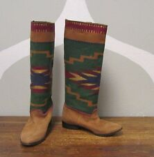 MADE IN SPAIN Brown Leather Woven Aztec Native Print Women's Pull On Boots - 7