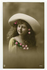 1910's Vintage Cute Little GIRL IN HAT Child Children tinted photo postcard