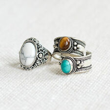 Tigers Eye Trinket Ring-Antique Silver Jewellery-Vintage Boho Bohemian Tibetan