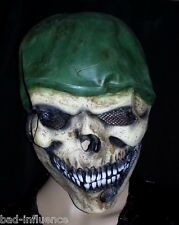 ONE SIZE HALLOWEEN COSTUME SKELETON SKULL ARMY SOLDIER GREEN HELMET RUBBER MASK