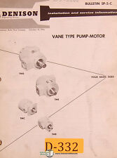 Denison 600, 700 800 Series, Vane Type Pump Motor Service Manual 1964