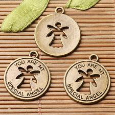 10pcs antiqued bronze color round shaped angel design charms  EF2911