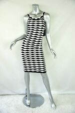 HERVE LEGER Black+White Stretch Bodycon Fitted Sleeveless Wide-Neck Dress XS NEW
