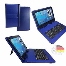 7 zoll Qwertz Tablet Tasche - Point of View Mobii Kids Etui - Tastatur Blau 7