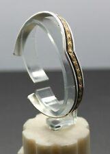 Flying V Sun Stamp Work Cuff in Sterling Silver + Gold Fill Signed L