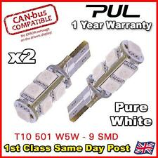 2 x ERROR FREE CANBUS W5W T10 501 LED SIDE LIGHT BULB 9 SMD - Pure White