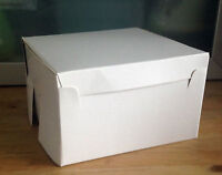 "White Plain Cake Boxes-Wedding-Party-Xmas-birthday-5""x 5""x3""-can be decorated"