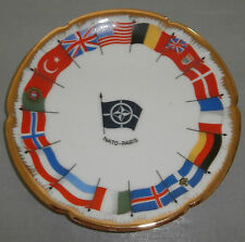 "MCM FLAGS OF NATO 1957 LIMOGES  PARIS FRANCE DC CHINA PLATE 5.25"" PORCELAIN"