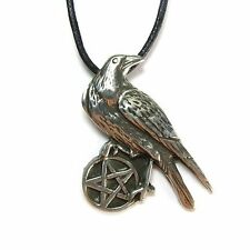 Pentacle of the Raven, Pewter Pendant on Cord Necklace #NI-WIC519