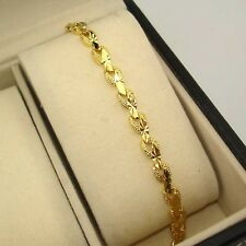 "18k Yellow Gold Filled Charms Bracelet 7.3""Chain Carved Link GF Fashion Jewelry"