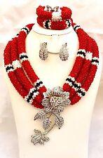 Elegante personalizadas Negro Rojo Y Blanco Cristal Broche Perlas Joyas Mezclada Con Set