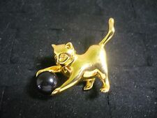 Vintage Goldtone Metal Black Plastic Bead Cat Playing with Ball Brooch Pin