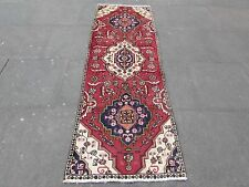 Old Traditional Persian Rug Wool Pink Red Oriental Rug Hand Made Runner 220x75cm