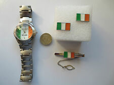 Round Rugby Football Ireland flag Wrist Watch Tie Pin and Cufflinks set gift #1