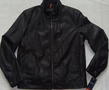 New Mens DOCKERS Dark Brown Faux Leather Bomber Jacket Size L MSRP $180