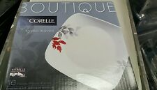 Corelle 42 Piece Boutique dinnerware Set, red Kyoto Leaves,dishes, plates, bowl