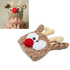 Newborn Baby Handmade Crochet Knitted Cute Deer Hat Photography Props Boys Girls