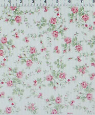 Emmas Garden Small  Trailing Roses on White by Clothworks Cotton  By the Yard