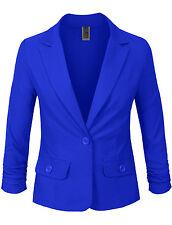 NE PEOPLE Womens 3/4 Scrunched Sleeve One Button Blazer Office Jacket [NEWJ114]
