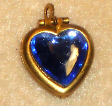 #695BR Vintage Heart Locket Pendant Sapphire Cabochon Flowers NOS Rhinestone