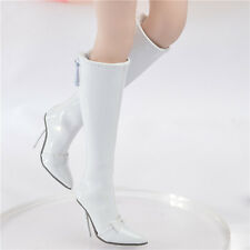 """1/6 White Leather Female Long Boots High-heeled Shoe F 12"""" Phicen Verycool Body"""