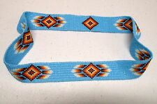 TURQUOISE FEATHERED DIAMOND HANDLOOMED BEADED HATBAND - Continuous Circle