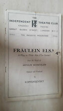 KINGSWAY THEATRE PROGRAMME- 1932: INDEPENDENT THEATRE CLUB - FRAULEIN ELSA