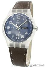 New Swatch Men Daily Friend Brown Genuine Leather DayDate Watch 42mm SUOK701 $75