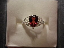 Rhodolite Garnet Pear Solitaire Ring w/Simulated Diamond Accents in Sterling