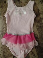 girls SUPERGIRL by NASTIA DANCE LEOTARD ballet fancy PINK skirt tutu SMALL 6/7
