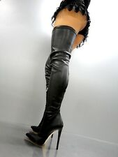 CQ COUTURE EXTREME LUXE STRETCH OVERKNEE BOOTS STIEFEL LEATHER BLACK SCHWARZ 38