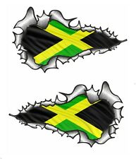 LONG Handed Pr Ripped Open Torn Metal Jamaica Jamaican Flag vinyl car sticker
