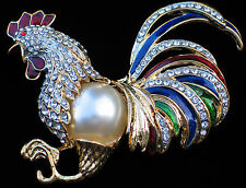 RED BLUE GREEN RHINESTONE PEARL GAMECOCK ROOSTER HEN CHICKEN BIRD PIN BROOCH 3.5