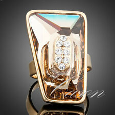 Big Brown Swarovski Crystal Adjustable Size Wedding Ring 18K Gold Plated Jewelry
