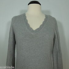 ANN TAYLOR  Gray V-Neck Sweater with Crochet Pattern Trim at Neck and Cuffs L