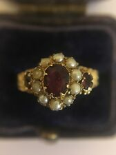 Antique Victorian Unusual Yellow Gold Pearl And Ruby Cluster Flower Ring 15ct