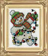 Cross Stitch Kit Design Works Christmas Snowman Lights w/Frame & Mat #DW517