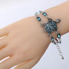 Tibetan Silver jewelry Blue Crystal Turtle tortoise Double Chain Bracelet Bangle