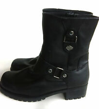 Harley Davidson Womens Black Leather Harness Boots Shoes Size 9.5M Worn Once