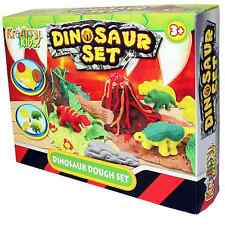 CHILDRENS KIDS DINOSAUR & VOLCANO PLAY DOUGH SET WITH MOULDS & COLOUR DOH TY367