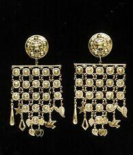 Earrings Gold Tone Hippie Bohemian Ethnic Boho Belly Dance Tribal Gypsy Vintage