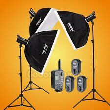 Godox DE400 (3X 400W) Studio Flash Strobe Light 60x90cm Softbox Kit + FT-16 220V